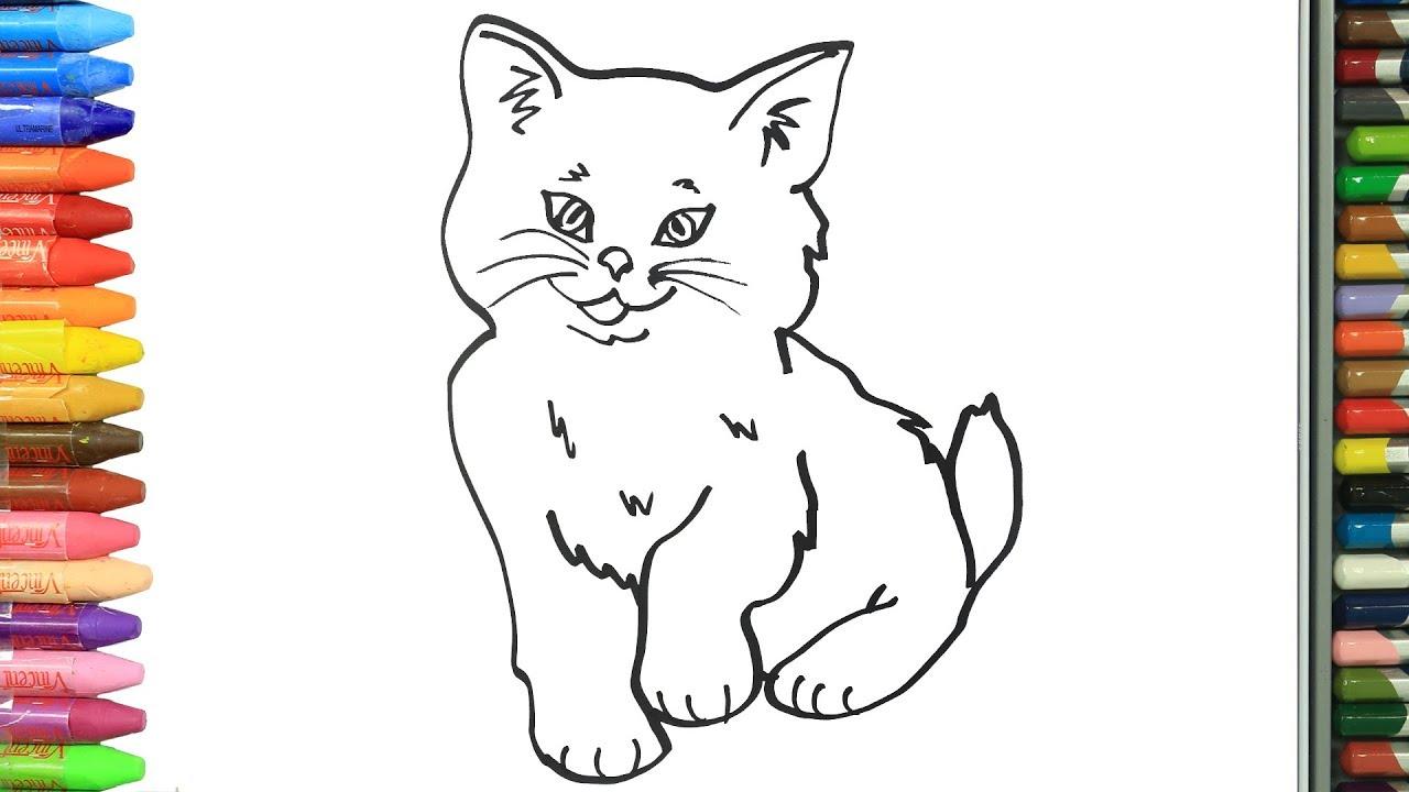 Wie Zeichnet Man Süße Katze Zeichnen Und Ausmalen Für Kinder Youtube