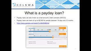 National legislative changes to payday lending and predatory leases - Webinar recording