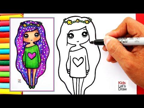 Cómo dibujar y pintar una CHICA TUMBLR cabello GALAXIA | How to Draw a Cute Girl Coloring Galaxy