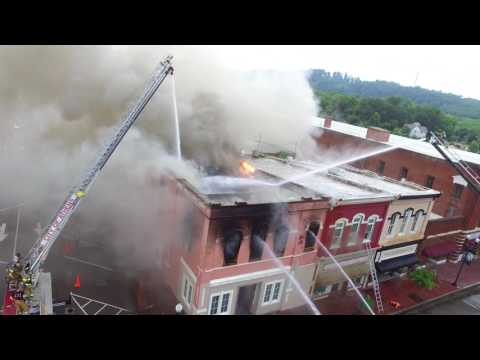 Fire in Downtown Athens, TN - Larry Cantrell & Chamber of Commerce Buildings.  July 1, 2017