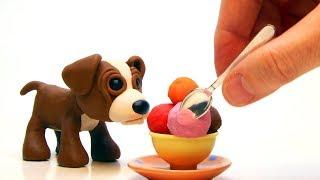Baby dog ice cream 💕 Superhero Clay videos for kids