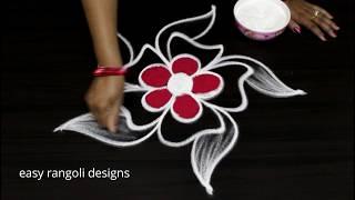Two pretty n simple kolams   easy rangoli designs    Latest beginners muggulu