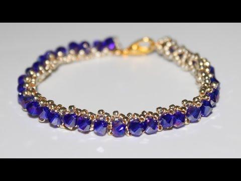 Тонкий браслет из бисера и бусин своими руками DIY Bracelet from beads