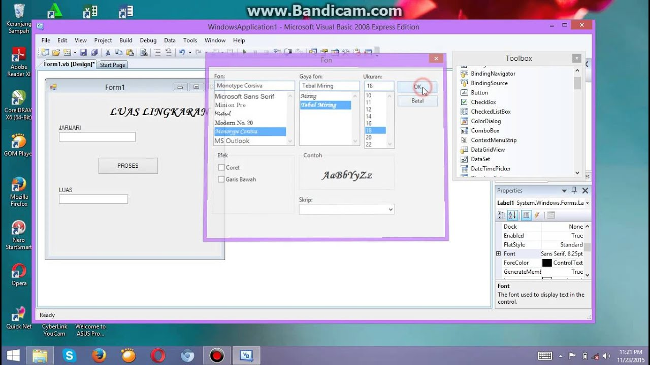 Menghitung Luas Lingkaran Pada Microsoft Visual Basic 2008 Youtube
