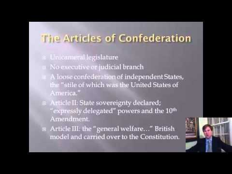 Constitutional History Lecture 5: Articles of Confederation and the Critical Period