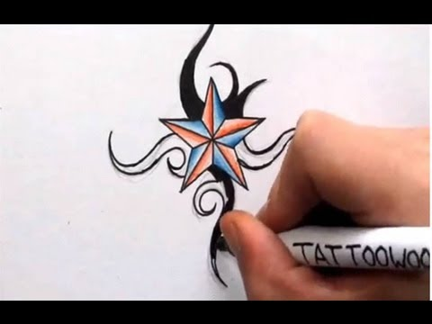 How To Draw A Nautical Star Shading In Color And Tribal Design Youtube