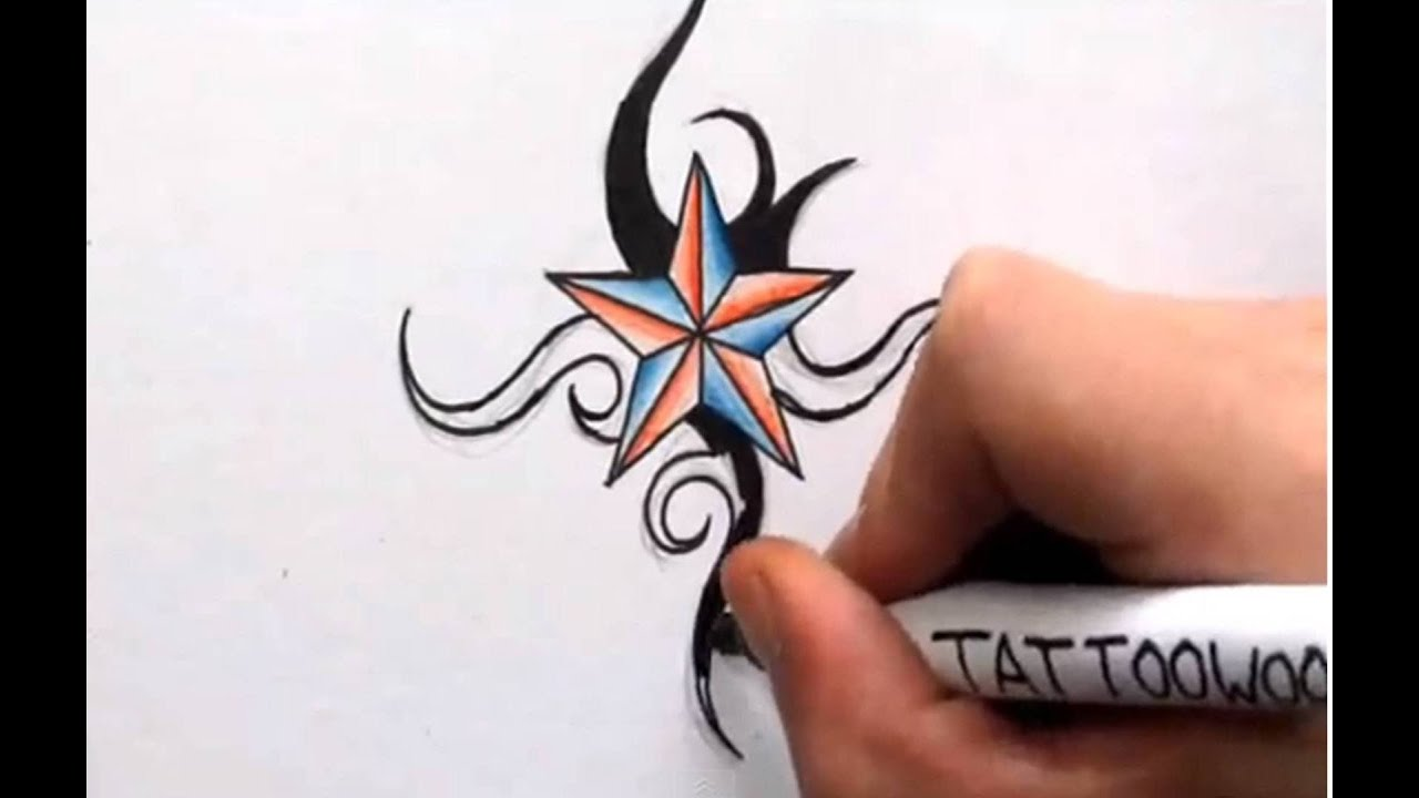 How To Draw a Nautical Star - Shading in Color and Tribal ...