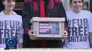 Brian May on handing in Anti Fur petition Sky News 26032018