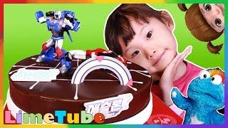 파랑아 오늘은 장난감 놀이 안할거야~! 라임이의 콩순이 또봇 애슬론 케이크 먹방 놀이 LimeTube & Toy 라임튜브