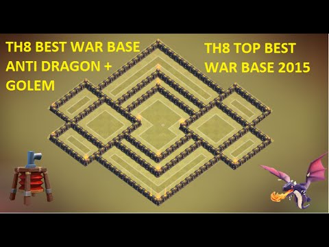 COC - Town Hall 8 Best (Th8) War Base + Defense Replay Anti Dragon Anti Gowipe Anti Hog