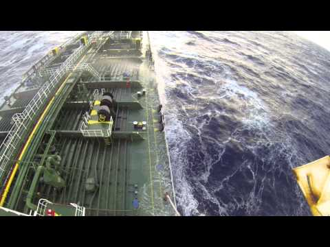 Ship hit by rogue wave in the Bay of Biscay