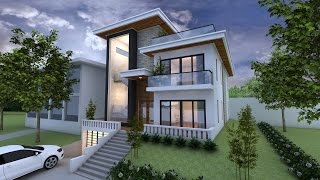 Sketchup Exterior 3 Stories Villa Design Drawing from Elevation Level Lumion Render