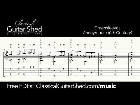 Greensleeves - Free sheet music and TABS for classical guita
