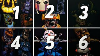 Todos Los Sustos De Five Nights At Freddys 1 2 3 4 5 6 | All Fnaf Jumpscares Compilation 2020