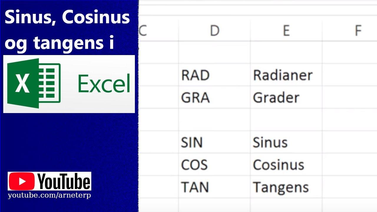Sinus, cosinus og tangens i excel