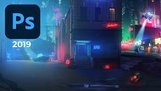Cyberpunk 2077 Matte Painting Behind The Scene Video #photoshop