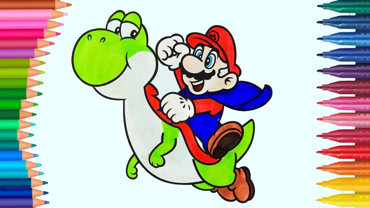 Mario Und Yoshi Ausmalbilder Wie Zeichnet Und Färbt Kleine Hände