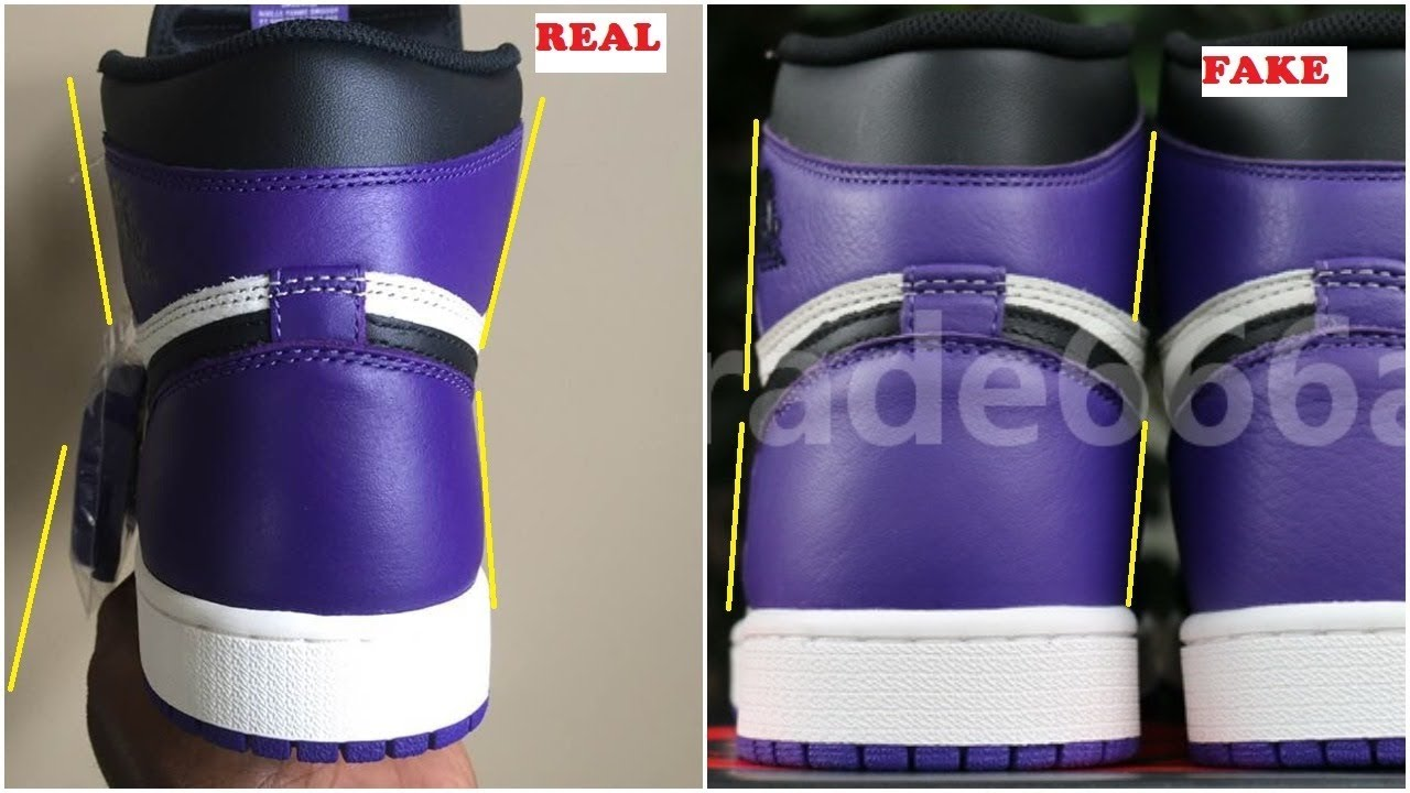 Real VS Fake Air Jordan 1 Court Purple Comparison- Quick Ways To Identify It aa92122d5