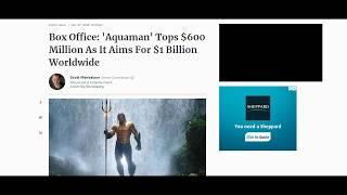 Aquaman passed 600 million dollars. Does it cross 1 Billion?
