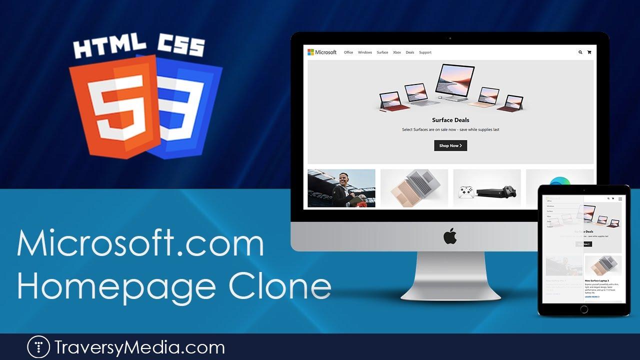 Microsoft Homepage Clone - CSS Grid, Flex & Media Queries