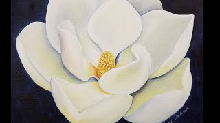 Magnolia Blossom Acrylic Painting LIVE Instruction