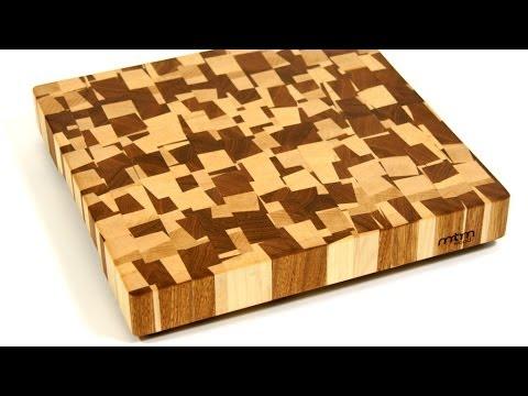 A Chaotic Pattern End Grain Cutting Board / Торцевая разделочная доска с хаотичным рисунком
