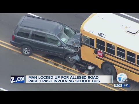 Suspected road rage leads to head-on school bus accident on 15 Mile Road and Dequindre