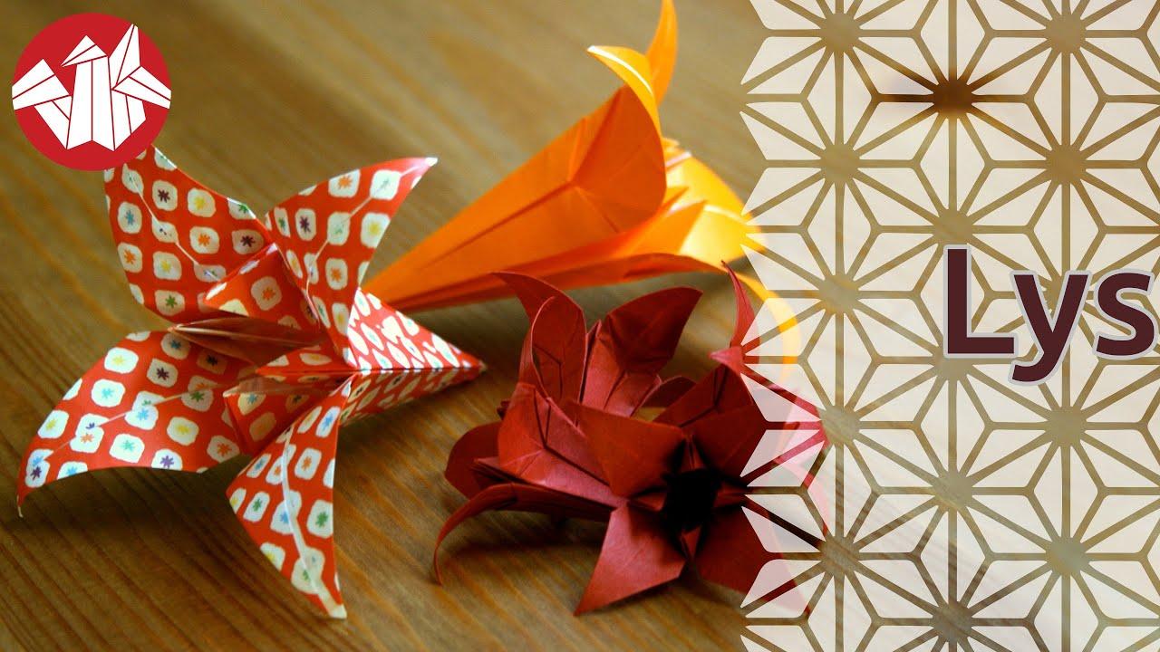 Origami - Le lys - Lily (HD) Senbazuru - YouTube