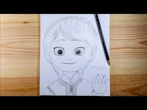رسم السا صغيرة أميرة ديزني بالرصاص How To Draw Little Elsa Princess Frozen Youtube
