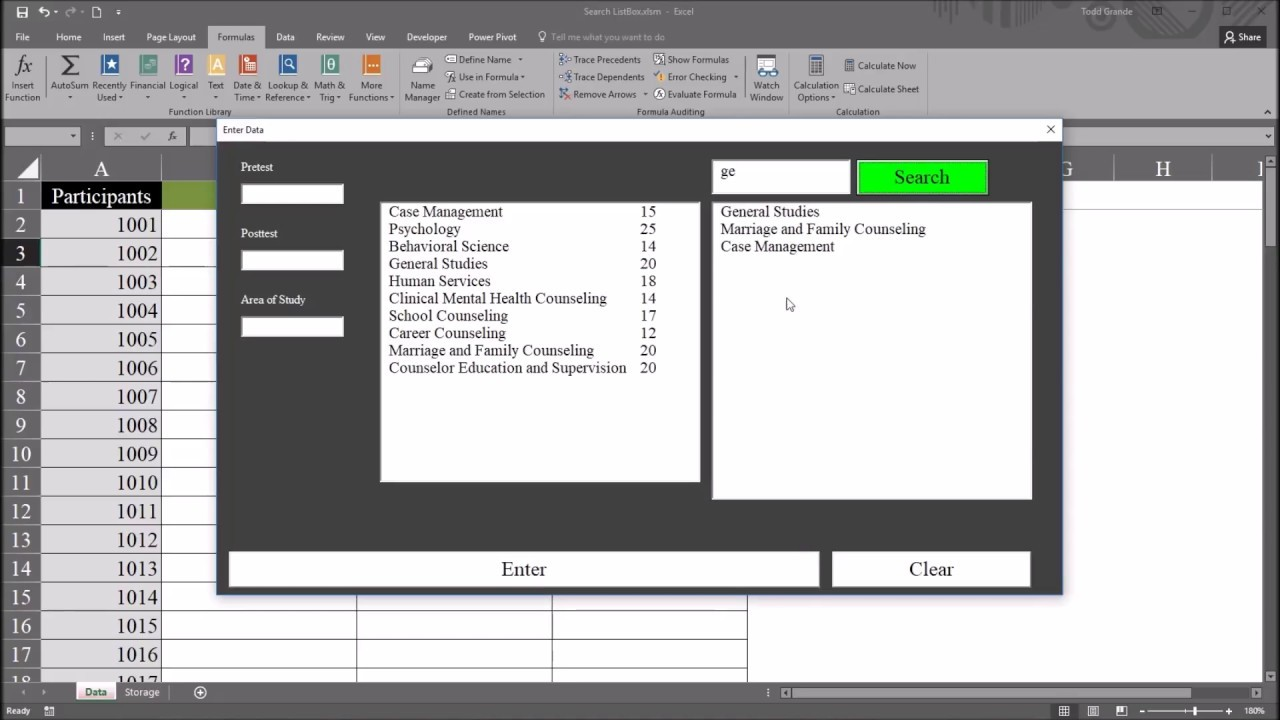 Search A Listbox Control Using A Textbox Control In Excel
