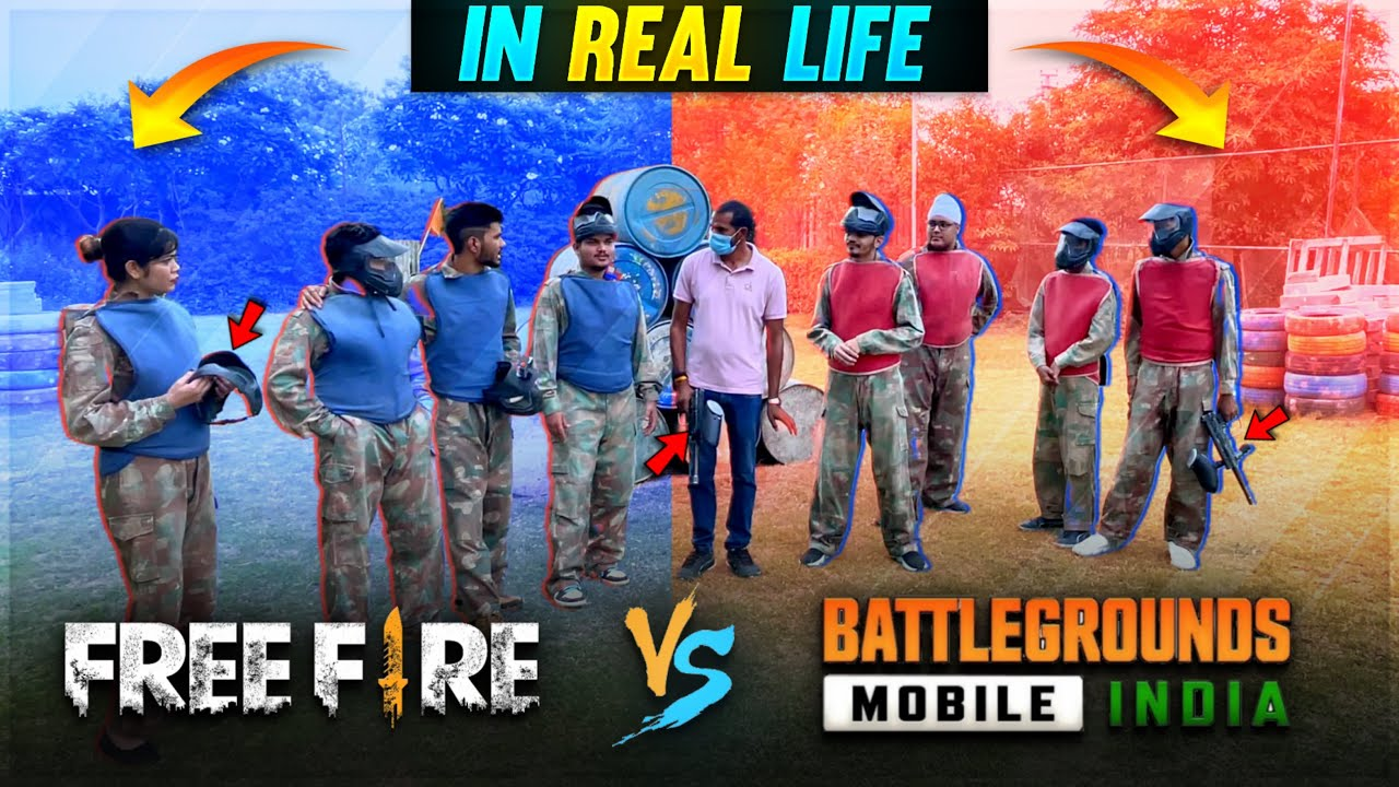 Free Fire Vs Battleground Mobile India in Real Life Clash Squad/ TDM Mode- Two side Gamers Vlogs #49