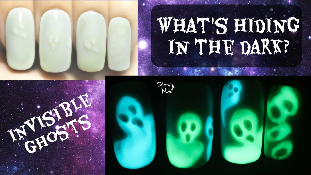 Invisible Ghosts ⎮ Glow in the Dark Freehand Nail Art ...