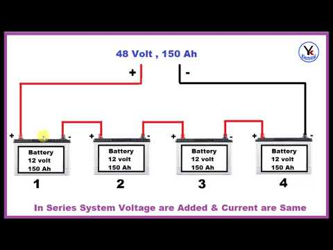 how to connect battery in series | double battery connection in Hindi | YK Electrical