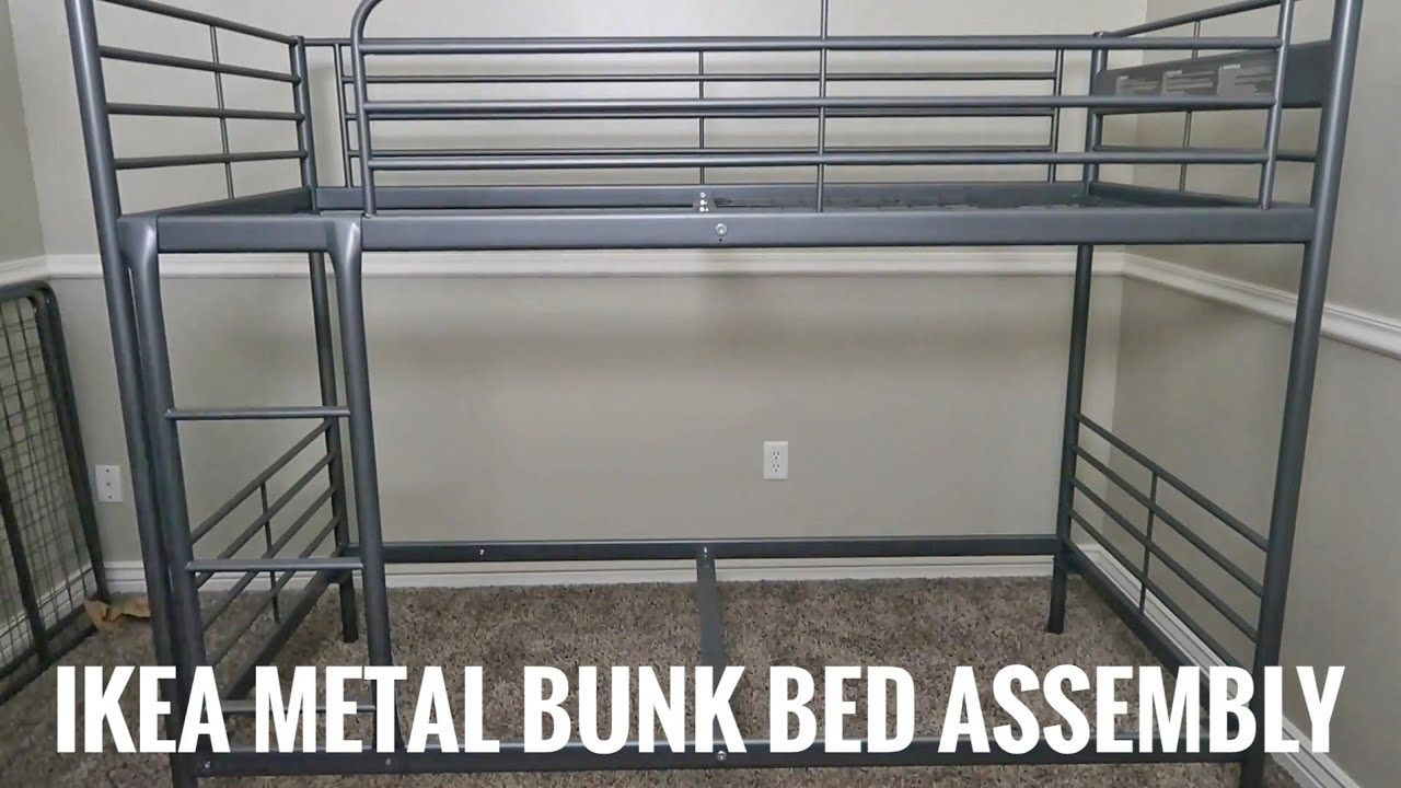 How To Assemble Ikea Svarta Metal Twin Bunk Bed Youtube