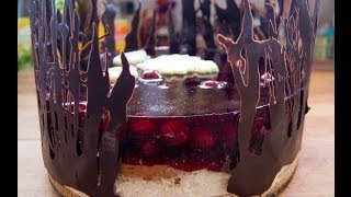 Mandel-Kirsch-Torte mit Schoko Dekoration - Rezept und Anleitung