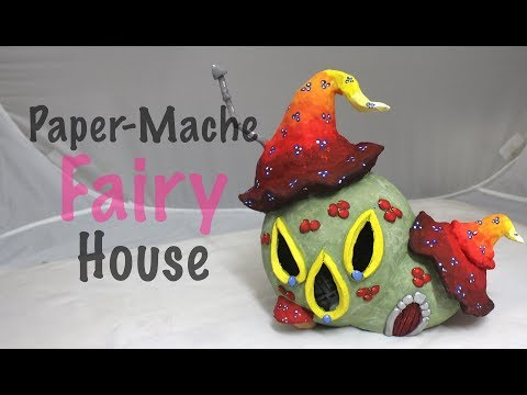 DIY Easy How To Make a Paper-Mache Mushroom Fairy House Night Light Lamp