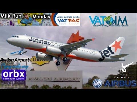 Aerosoft Jetstar A320 flies to Orbx Avalon YMAV on Vatsim MRM