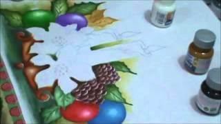 Pintando velas e flores de natal