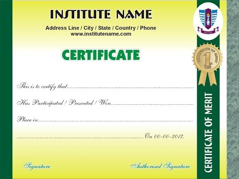 How to make a Diploma / Certificate of Merit in Corel Draw` by T Official