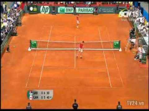 Hot shot of the day! Novak Djokovic vs Milos Raonic - Davis cup 2013