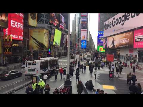 Times Square, time-lapse. Manhattan, New York City, March 2018.