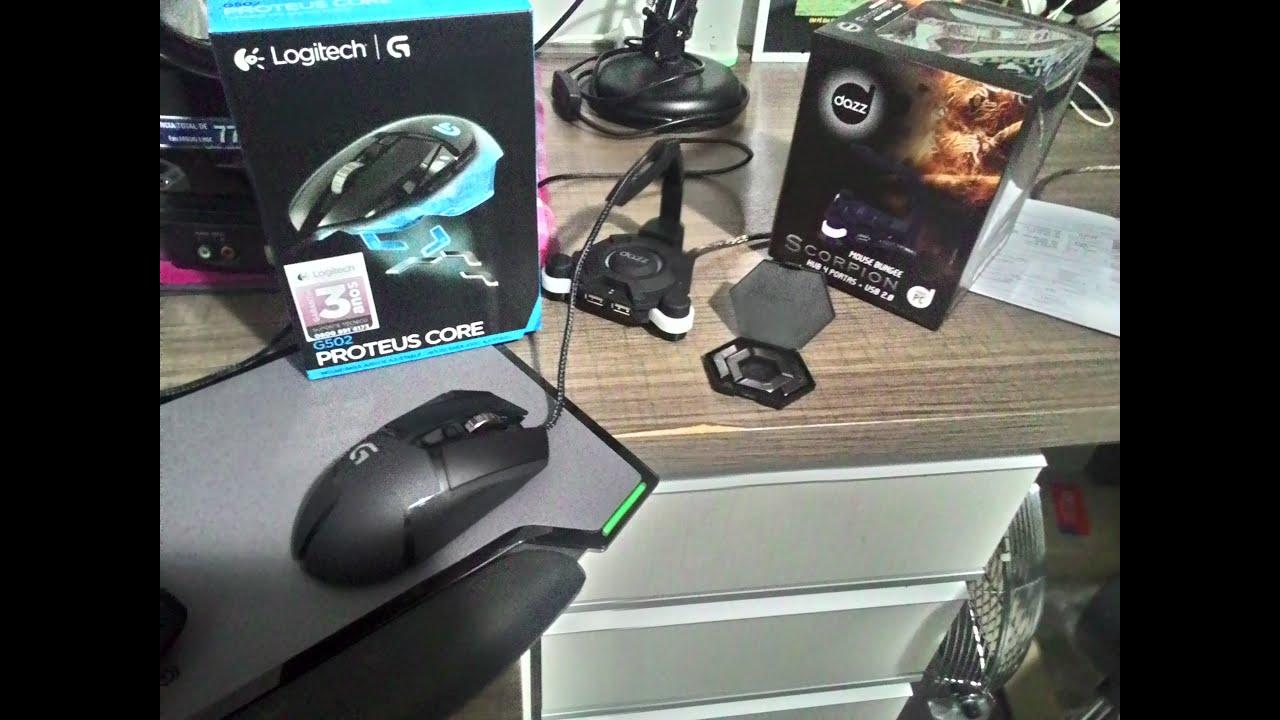 81b70d113c5 Mouse Gamer Logitech G502 e Dazz Mouse Bungee SCORPION - Unboxing e  mini-análise pt-br