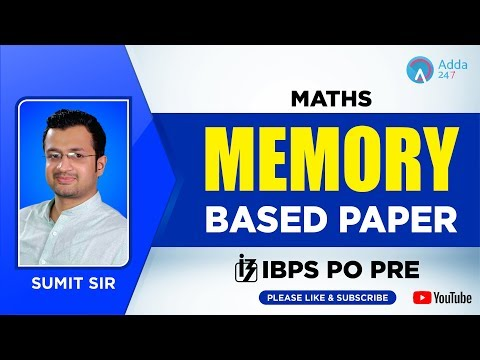 IBPS PO Pre | Memory Based Paper | Maths  | Sumit Sir | 12 P.M