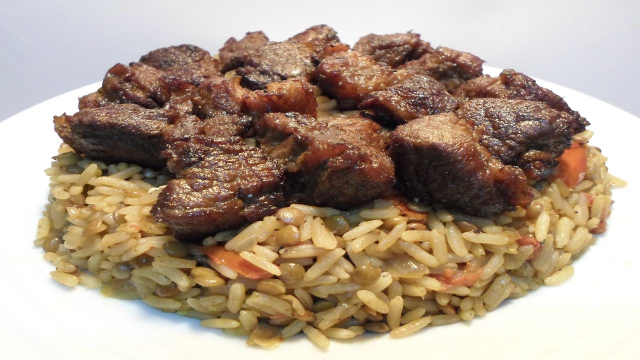 طريقة عمل كبسة اللحم بالأرز البسمتي و العدس بجبة -  Meat Kabsa With Rice and Black Lentils