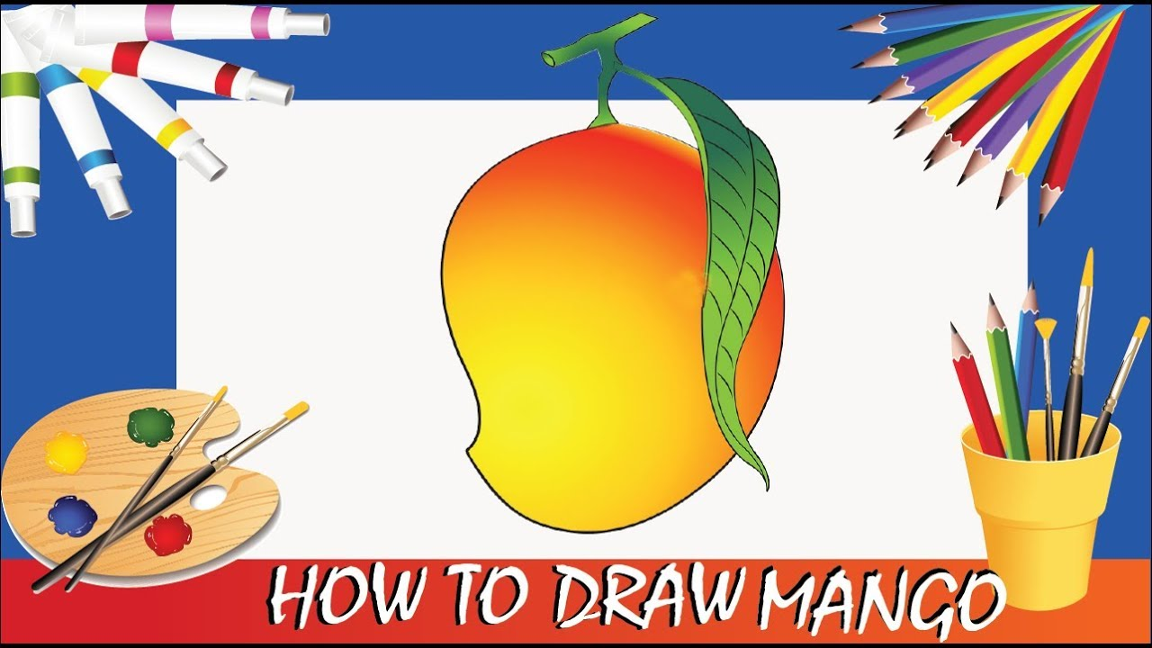 How To Draw A Mango Poster Color Youtube