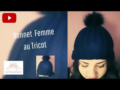 Bonnet taille adulte en cote 2/2 au tricot