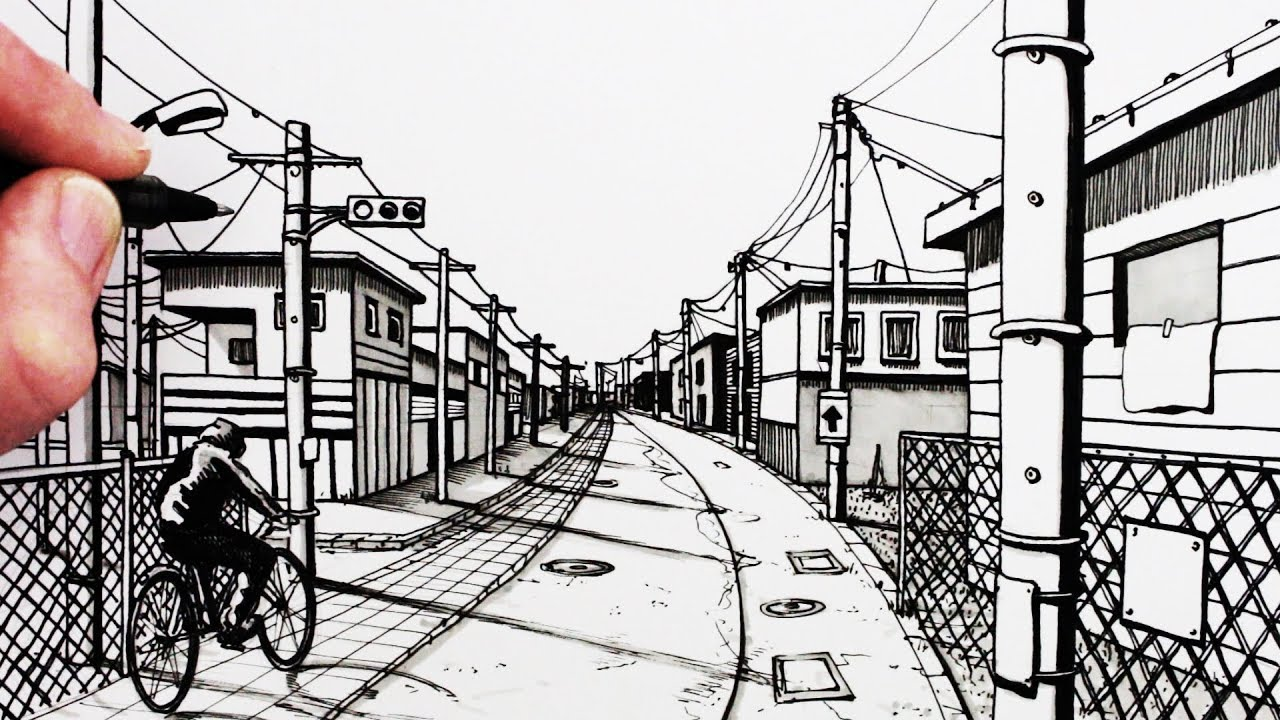 How to Draw a Road: 1-Point Perspective Drawing: Narrated - YouTube