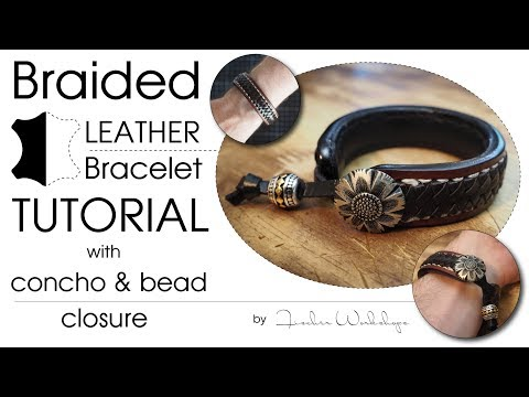 Hand Braided Leather Bracelet With Concho & Bead Lock (HD)