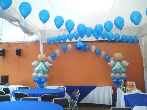 Como hacer adornos con globos para bautizo - Como hacer decoraciones de bautizo ...