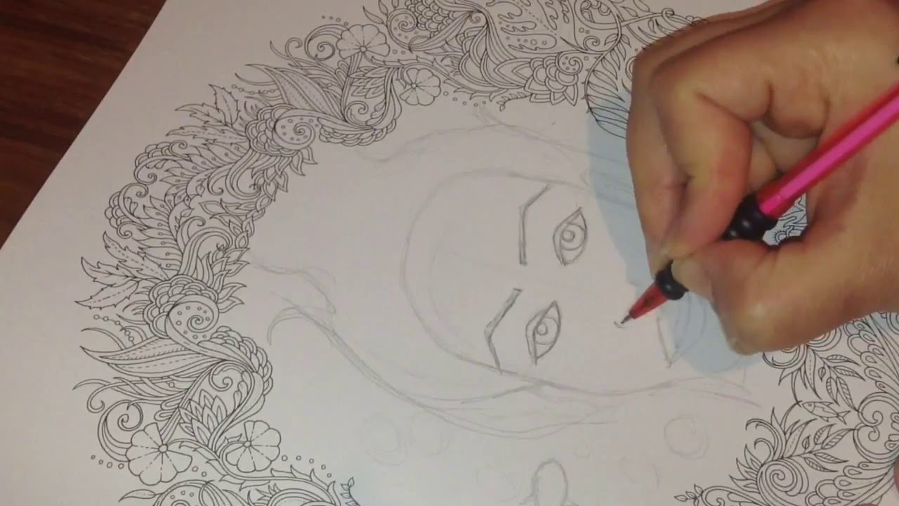 How To Draw A Face In Johanna Basfords Adult Colouring Books